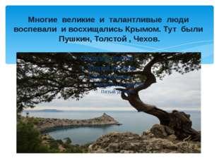 Многие великие и талантливые люди воспевали и восхищались Крымом. Тут были Пу