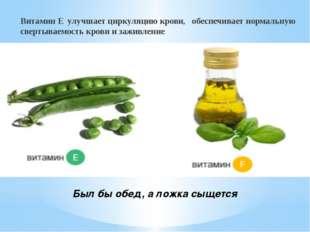 Был бы обед, а ложка сыщется Витамин Е улучшает циркуляцию крови, обеспечива