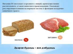 Здоров будешь – все добудешь Витамин B1 поступает в организм с пищей, преиму