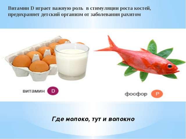 Где молоко, тут и волокно Витамин D играет важную роль в стимуляции роста ко...