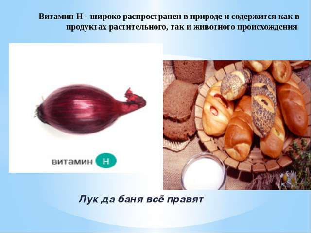 Лук да баня всё правят Витамин Н - широко распространен в природе и содержит...