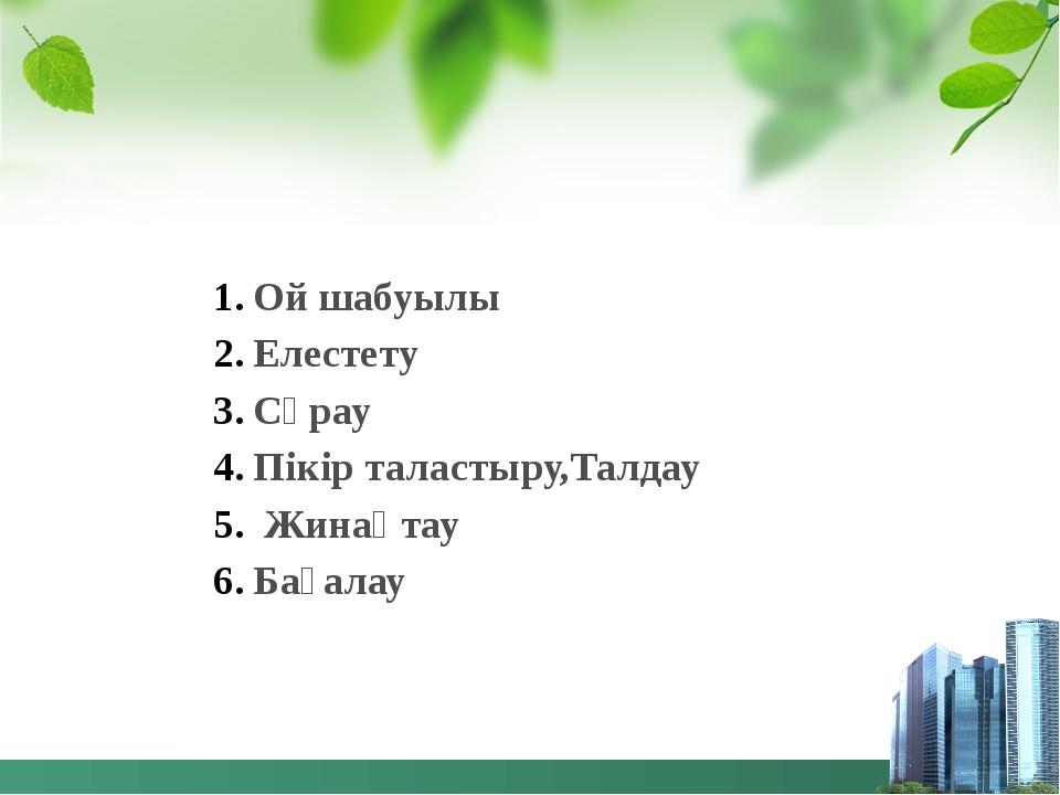Ой шабуылы Елестету Сұрау Пікір таластыру,Талдау Жинақтау Бағалау