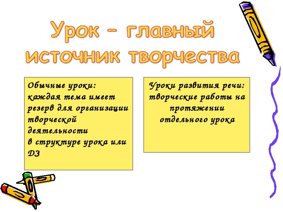 Обычные уроки: каждая тема имеет резерв для организации творческой деятельно...