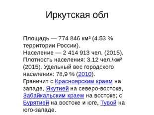 Иркутская обл Площадь— 774846 км² (4.53% территории России). Население— 2