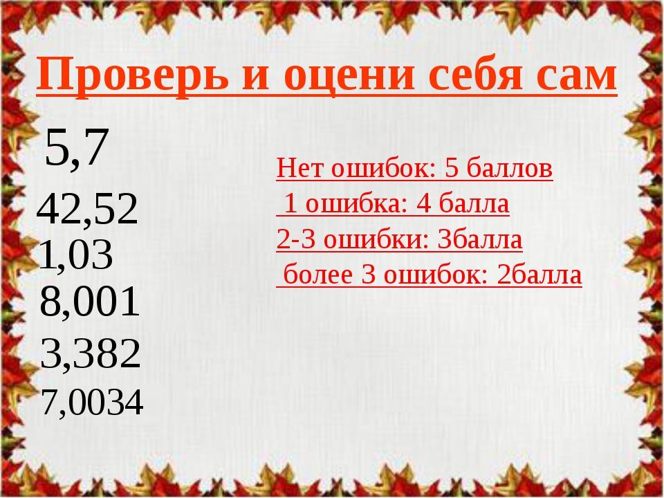 Проверь и оцени себя сам Нет ошибок: 5 баллов 1 ошибка: 4 балла 2-3 ошибки: 3...