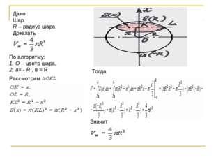 Дано: Шар R– радиус шара Доказать По алгоритму: 1. O– центр шара, 2. a=-R