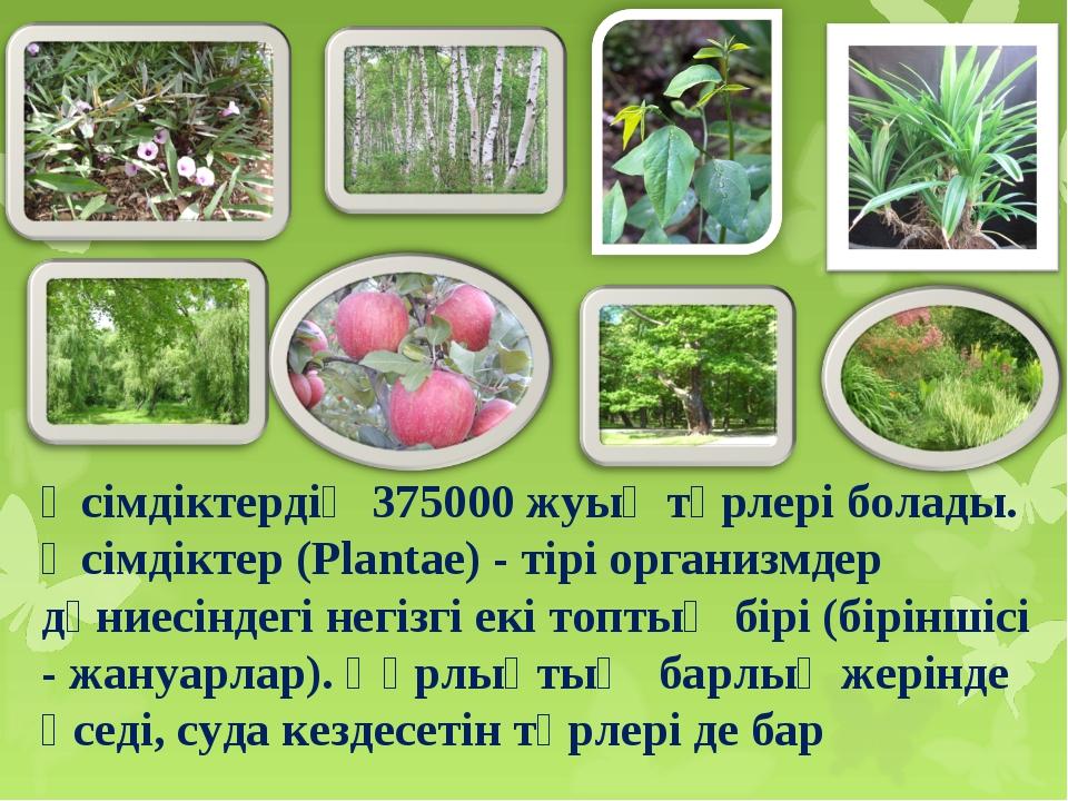 Өсімдіктердің 375000 жуық түрлері болады. Өсімдіктер (Plantae) - тірі органи...