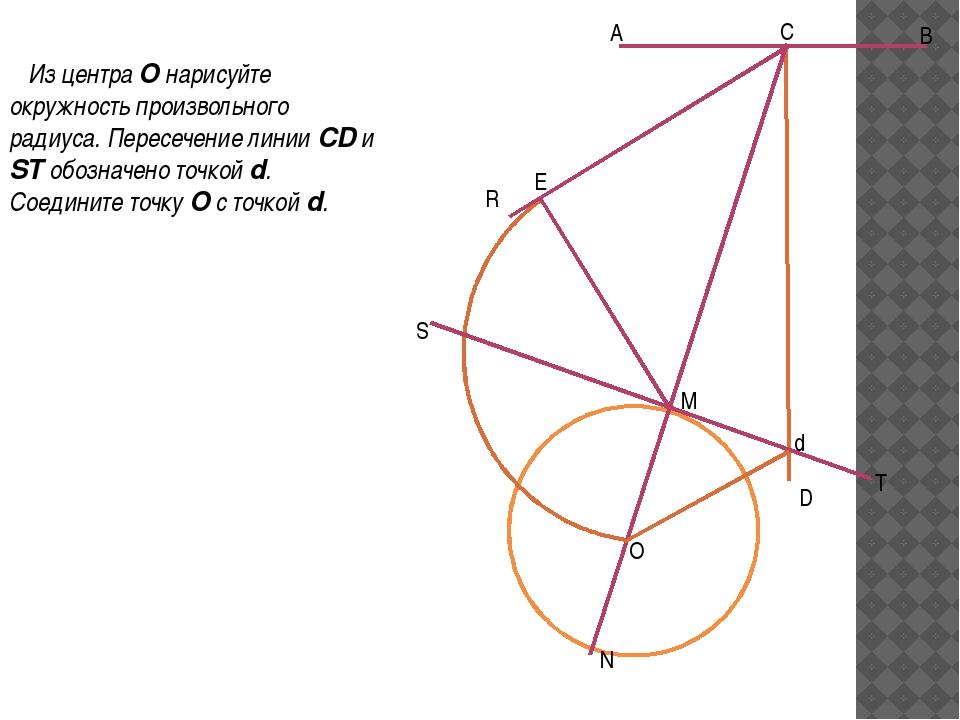 Из центра O нарисуйте окружность произвольного радиуса. Пересечение линии CD...