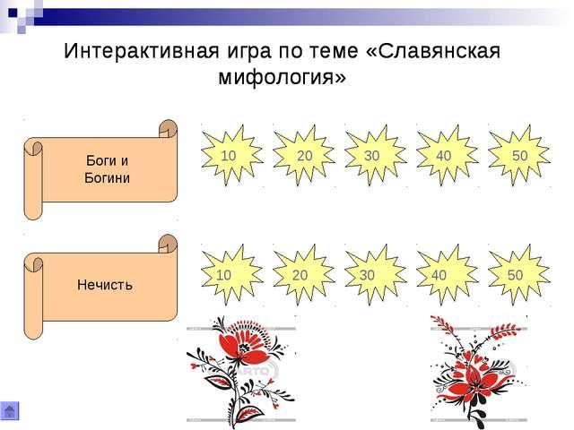 Интерактивная игра по теме «Славянская мифология» Интерактивная игра по теме...