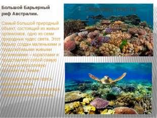 Большой Барьерный рифАвстралии. Самый большой природный объект, состоящий из