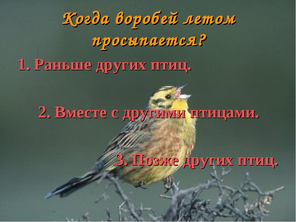 Когда воробей летом просыпается? 1. Раньше других птиц. 2. Вместе с другими п...