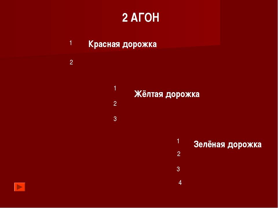 Красная дорожка Жёлтая дорожка Зелёная дорожка 1 2 1 2 3 1 2 3 2 АГОН 4