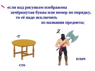 если над рисунком изображена зачёркнутая буква или номер по порядку, то её н