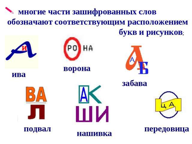 многие части зашифрованных слов обозначают соответствующим расположением бук...