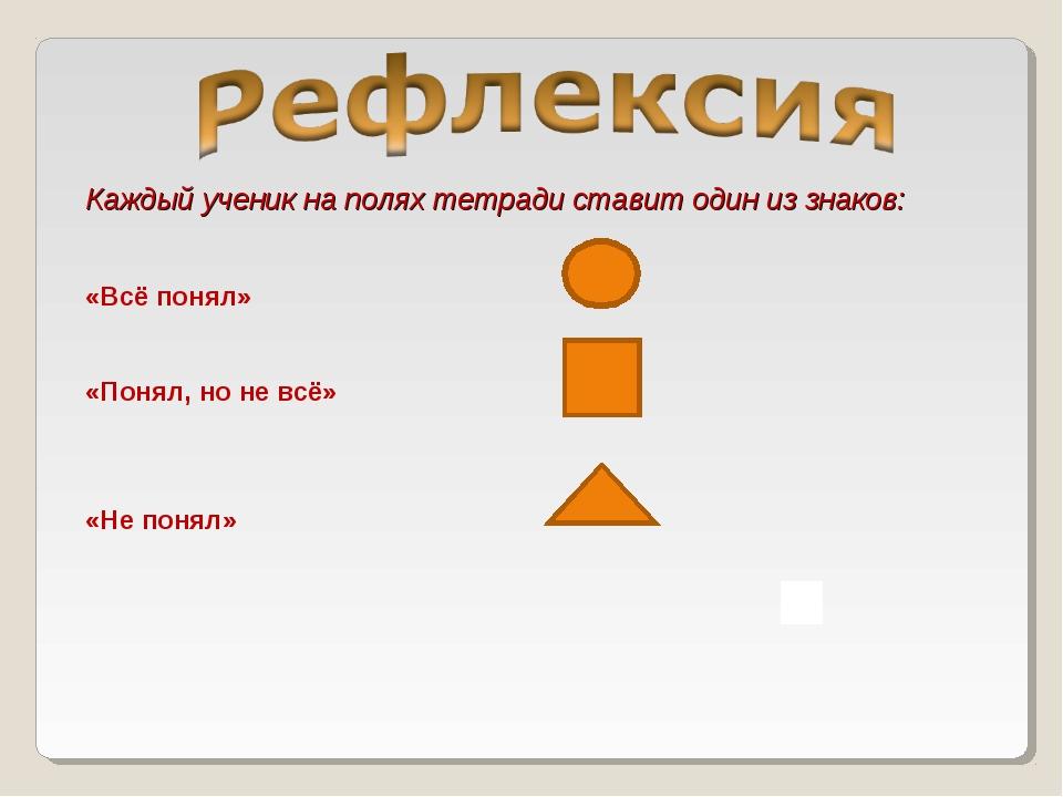 Каждый ученик на полях тетради ставит один из знаков: «Всё понял» «Понял, но...