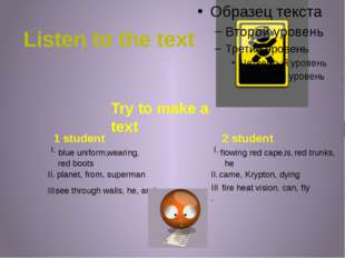 Listen to the text Try to make a text 1 student 2 student blue uniform, flowi