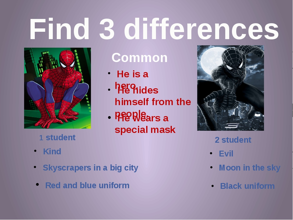 Find 3 differences Common 1 student 2 student Kind Red and blue uniform Skysc...