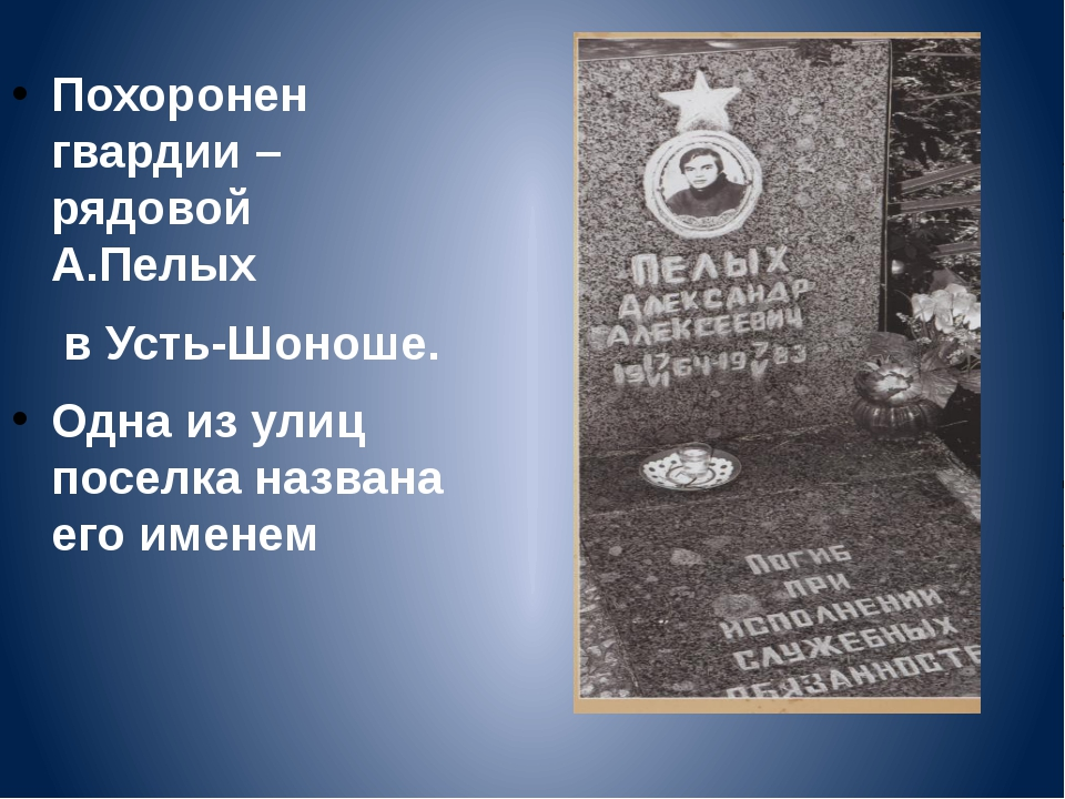 Похоронен гвардии –рядовой А.Пелых в Усть-Шоноше. Одна из улиц поселка назван...