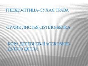 ГНЕЗДО-ПТИЦА-СУХАЯ ТРАВА СУХИЕ ЛИСТЬЯ-ДУПЛО-БЕЛКА КОРА ДЕРЕВЬЕВ-НАСЕКОМОЕ-ДУП