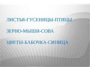 ЛИСТЬЯ-ГУСЕНИЦЫ-ПТИЦЫ ЗЕРНО-МЫШИ-СОВА ЦВЕТЫ-БАБОЧКА-СИНИЦА