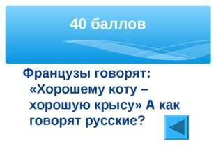 Французы говорят: «Хорошему коту – хорошую крысу» А как говорят русские? 40 б