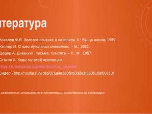Литература Ковалев Ф.В. Золотое сечение в живописи. К.: Выща школа, 1989. Кеп