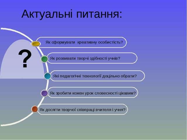 Актуальні питання: Як досягти творчої співпраці вчителя і учня? Які педагогіч...