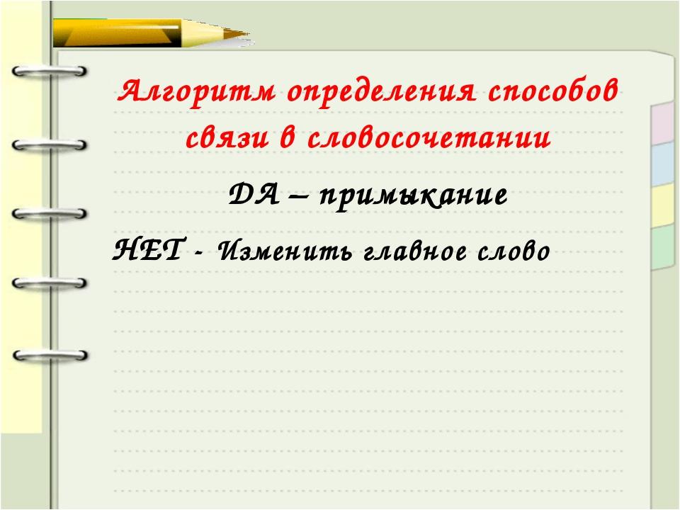 Алгоритм определения способов связи в словосочетании ДА – примыкание НЕТ - Из...