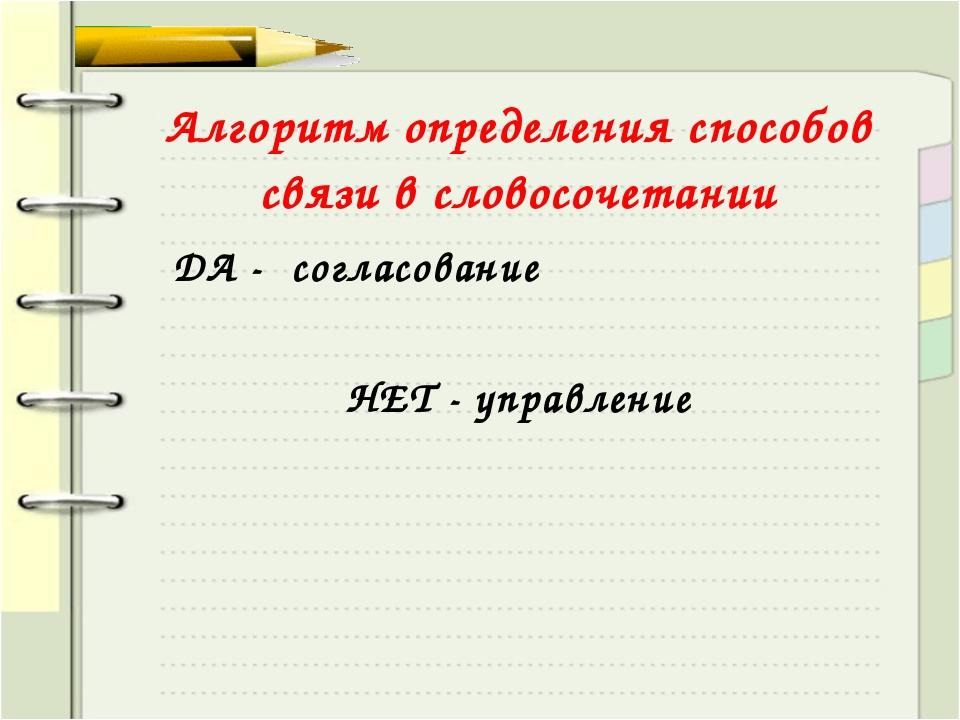Алгоритм определения способов связи в словосочетании ДА - согласование НЕТ -...