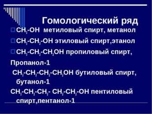Гомологический ряд СН3-ОН метиловый спирт, метанол СН3-СН2-ОН этиловый спирт,