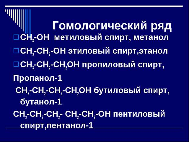 Гомологический ряд СН3-ОН метиловый спирт, метанол СН3-СН2-ОН этиловый спирт,...