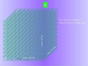 9 1 дм = 10 см 1 дм = 10 см 1 дм = 10 см V = 1×1 ×1 =1 дм3 = =10 × 10 × 10 =