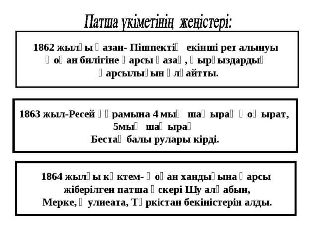 1862 жылғы қазан- Пішпектің екінші рет алынуы Қоқан билігіне қарсы қазақ, қыр...