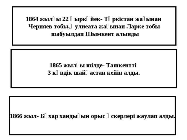 1864 жылғы 22 қыркүйек- Түркістан жағынан Черняев тобы,Әулиеата жағынан Ларке...