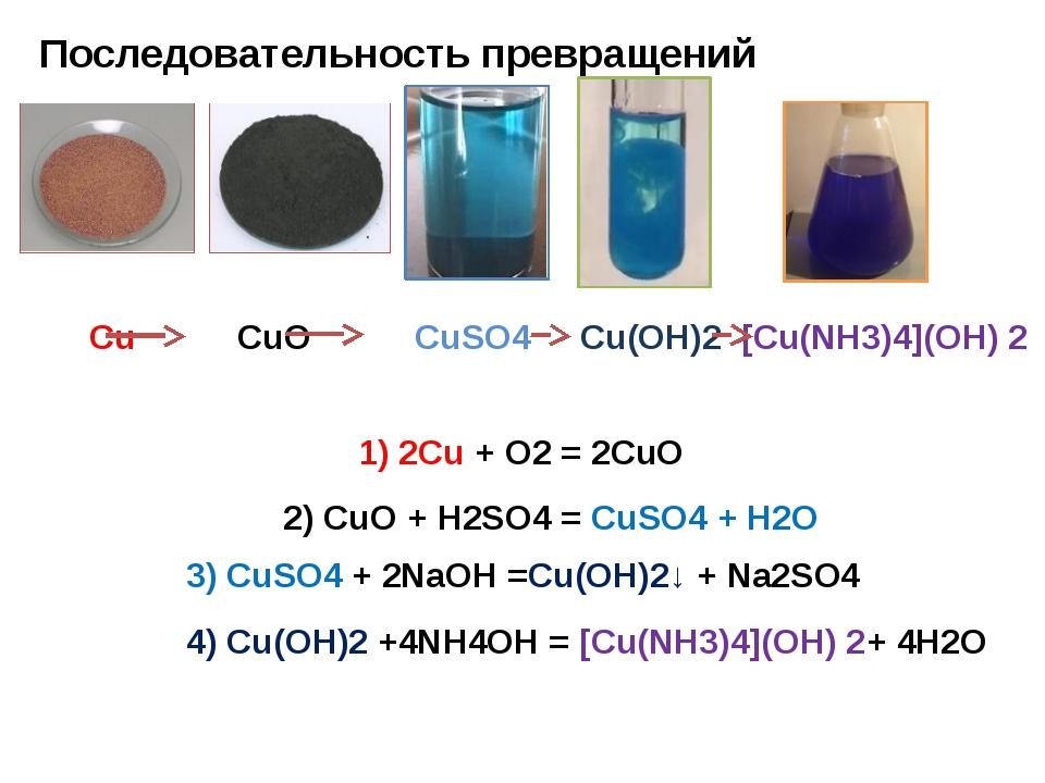Последовательность превращений Сu CuO СuSO4 Cu(OH)2 [Сu(NH3)4](OH) 2 1) 2Сu +...
