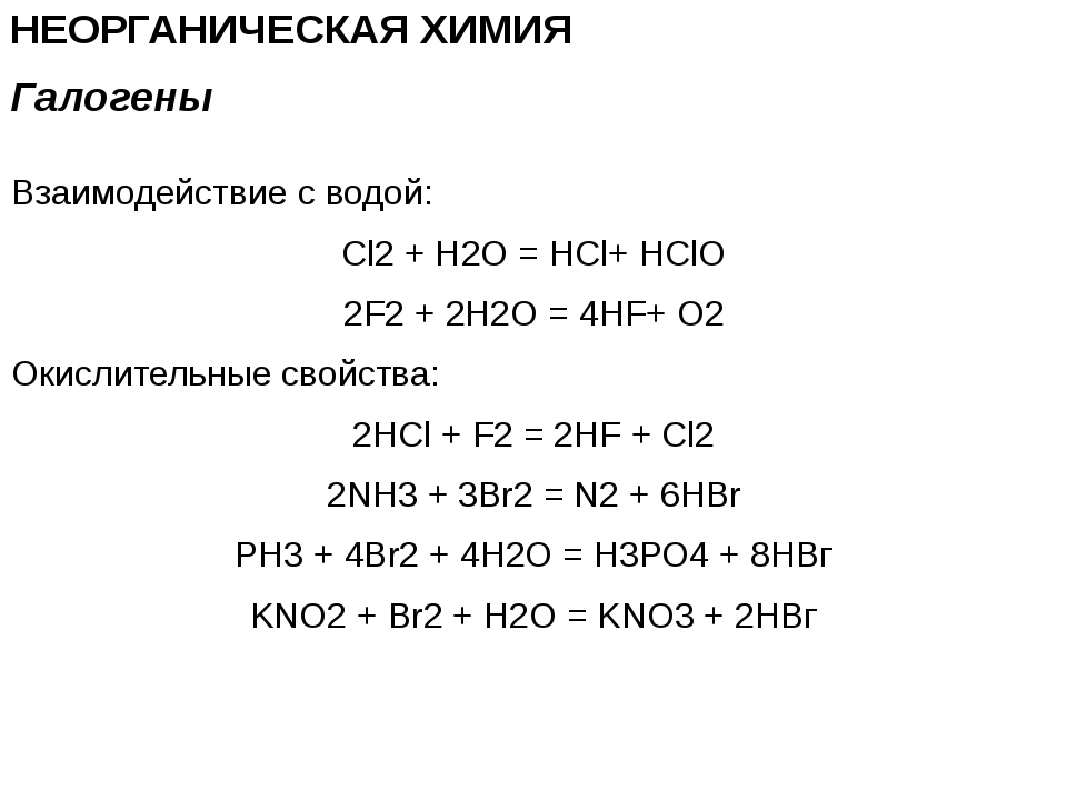 НЕОРГАНИЧЕСКАЯ ХИМИЯ Взаимодействие с водой: Cl2 + H2O = HCl+ HClO 2F2 + 2H2O...