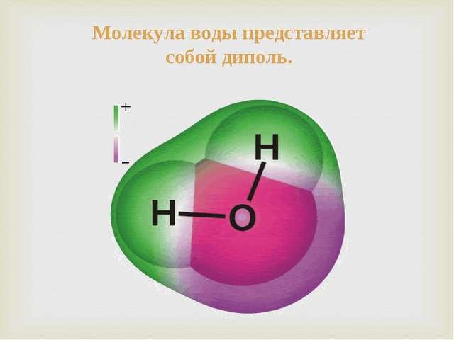 Молекула воды представляет собой диполь.