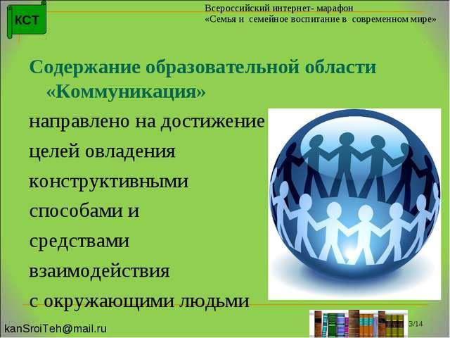Содержание образовательной области «Коммуникация» направлено на достижение...