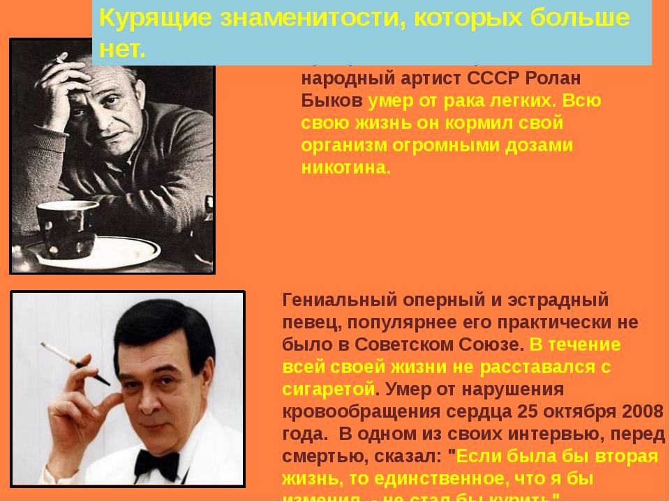 Кумир детей и подростков, народный артист СССР Ролан Быков умер от рака легк...