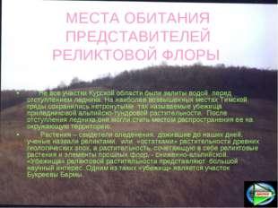МЕСТА ОБИТАНИЯ ПРЕДСТАВИТЕЛЕЙ РЕЛИКТОВОЙ ФЛОРЫ Не все участки Курской области