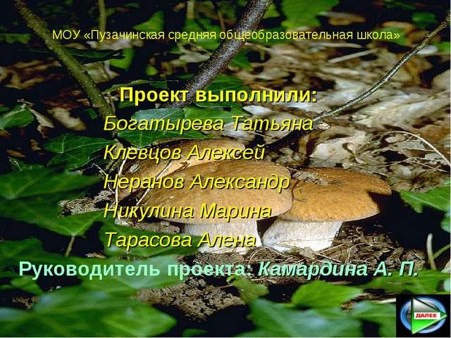 МОУ «Пузачинская средняя общеобразовательная школа» Проект выполнили: Бога...