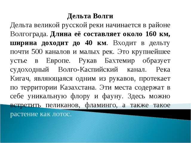 Дельта Волги Дельта великой русской реки начинается в районе Волгограда.Длин...