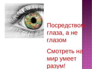 Посредством глаза, а не глазом Смотреть на мир умеет разум!