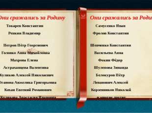 Токарев Константин Самусенко Иван Репкин Владимир Фролов Константин Петров П