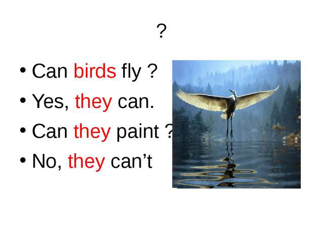 ? Can birds fly ? Yes, they can. Can they paint ? No, they can't