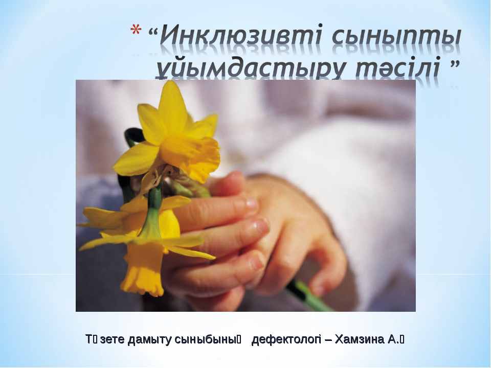 Түзете дамыту сыныбының дефектологі – Хамзина А.Ә