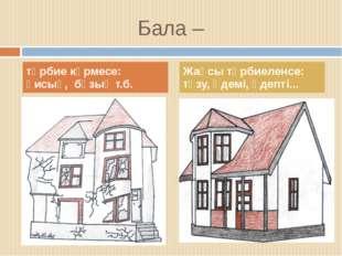 Бала – тәрбие көрмесе: қисық, бұзық т.б. Жақсы тәрбиеленсе: түзу, әдемі, әдеп
