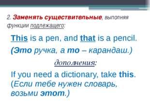 2. Заменять существительные, выполняя функции подлежащего: This is a pen, and