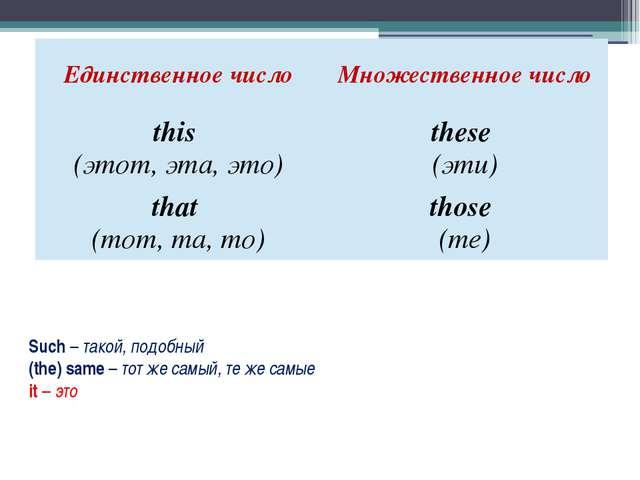 Such – такой, подобный (the) same – тот же самый, те же самые it – это Единст...