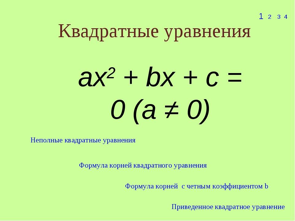 Квадратные уравнения 1 2 3 4 ax2 + bx + c = 0 (a ≠ 0) Неполные квадратные ура...